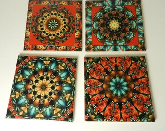Mandala  Art Design Coasters Assorted Mandala Pattern Ceramic Coasters Set Four Sublimated Tile Drink Coasters
