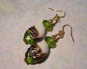 Green and White Lampwork Glass Earrings, 2 Inches, Gold Plated, Apple Green, Irish, Celtic, Saint Patrick's Day