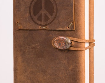 """Refillable 4"""" x 6"""" Leather Journal with Peace Sign Tattoo (JS-48)"""