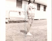 Vintage Photo, Woman in Two-Piece Bathing Suit, Black and White Photo, 1940's Photo, Found Photo, Antique Photo,  WWII Photo  augustine0019