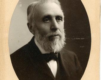 Vintage Photo, Cabinet Photo, Bearded Man, Black & White Photo, Victorian Photo, Studio Portrait, Found Photo, Americana AUGUSTINE10012