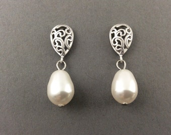 Pearl Teardrop Earrings In Silver With Swarovski Crystal Cream Teardrop Pearls