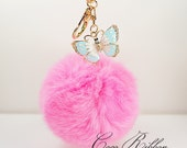 Oversized Pink Fur Pom Pom Blue Butterfly Gold Alloy KeyChain Ring With Clasp