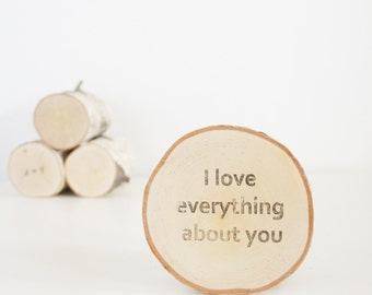 personalized message on a white birch trees