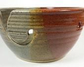 Brown grey pottery yarn bowl