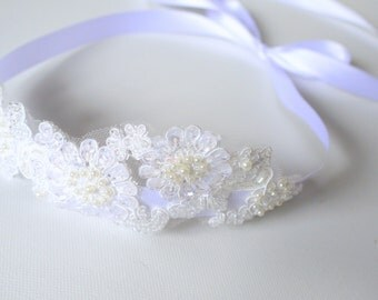 SALE White Lace Headband with Sequins, Floral Ivory Lace, Beaded Headband / Vintage, Boho / Grace (in White)