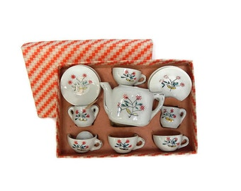 Toy Tea Set 1950s Childrens Toy Dish Set Hand Painted Japan in Original Box, Vintage Doll Toy Tea Set