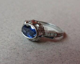 Antique Platinum Deco Custom Sapphire and Diamond Ring