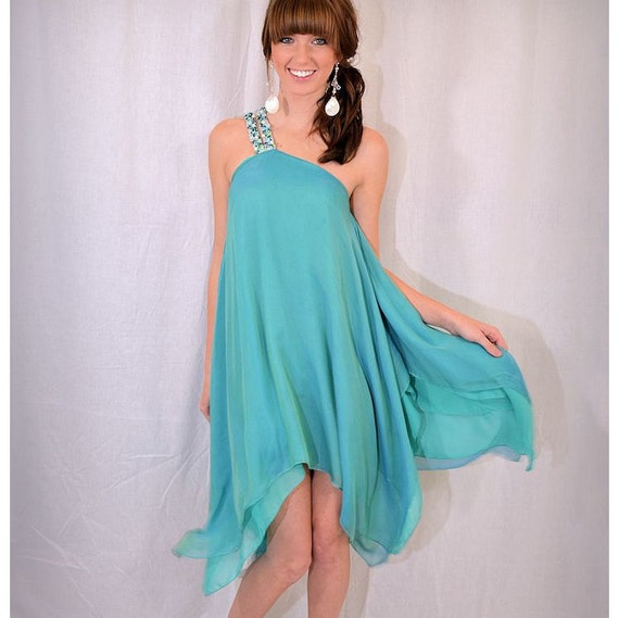 Enchanting Silk Moonstone Gown - Turquoise/Aqua - Goddess, Fairy, or Wedding