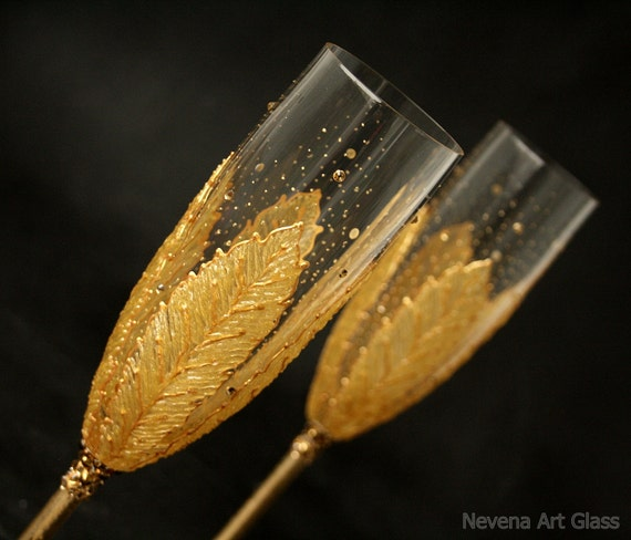 Wedding Glasses, Toasting Champagne Glasses, Hand Painted, Gold Champagne Glasses,  set of 2