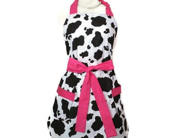 Classic Women's apron, Cow Print with pink ties, bridal shower mother's day gift, retro Black and white, personalized option, retro