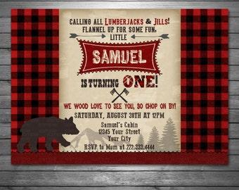 Lumberjack Birthday Invitation, Lumberjack Photo Invite, Digital Lumberjack Invitation, Rustic, Lumberjack Birthday, Bear Invitation