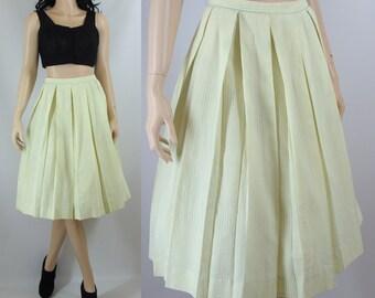 Vintage Fifties Lime Green Seersucker Pleated Full Skirt Small XS 50s Skirt