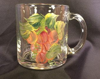 Hand Painted Glass Mug - Grapes 'n Gold Red