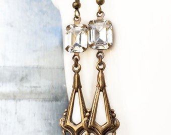 Art Deco Earrings - Crystal and Gold - 1920s Earrings - French Hook