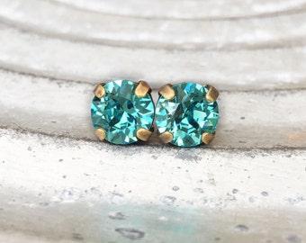 Stud Earrings, Post Earrings, Rhinestone Earrings, Aquamarine Earrings, Turquoise Earrings, Bridesmaid Earrings, Wedding Party Earrings