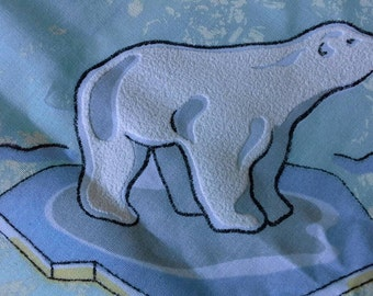 Flocked Polar Bears Novelty Print Fabric 2 Yards  X0446