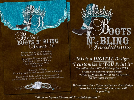 Boots Bling Sweet 16 Sweet 16 Invitations Western Birthday