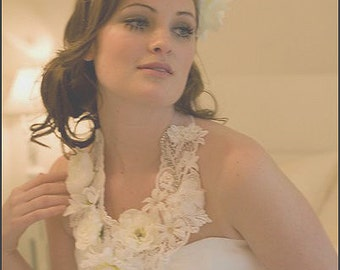 One of a Kind White Floral Bridal Necklace