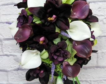 Cascade bouquet - Wedding Bouquet Cascading bouquet - Bridal bouquet real touch calla lily plum orchid