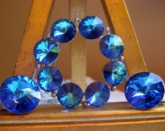 Dazzling Weiss Bermuda Blue Rivoli Brooch and Earrings