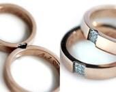 Promise ring set in 14k rose gold - Wedding band sets - Love rings - White diamonds - Heart wedding rings - Men wedding band rings Pink gold