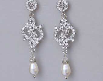 Crystal Vintage Bridal Earrings, Crystal Chandelier Earrings,  Crystal and Pearl Drop Earrings,  REBECCA