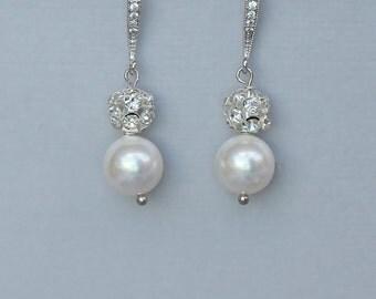 Pavè Crystal and Pearl Earrings, Crystal & Pearl Drop Bridal Earrings, Pearl Bridal Jewelry, Silver Pearl Earrings,  CARMEN