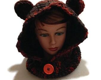 Bear Hood, Bear Hooded Cowl, Pixie Hood, Crochet Pixie Hat, Crochet Neck Warmer, Bear Cowl, Animal Hood, Hat with Ears, Novelty Hood
