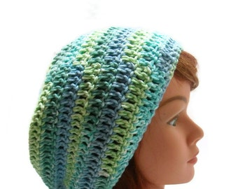 Cotton Tam, Ombre Tam, Blue and Green Hat, Slouchy Cotton Hat, Cotton Dreadlock Hat, Cotton Beach Hat, Green Summer Hat, Slouchy Beach Hat