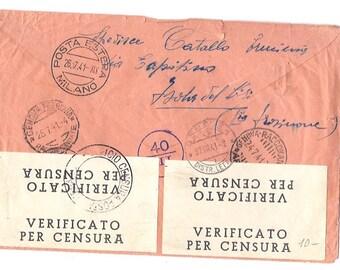 1941 Circulated ITALIAN ORANGE ENVELOPE - Paper ephemera from Italy