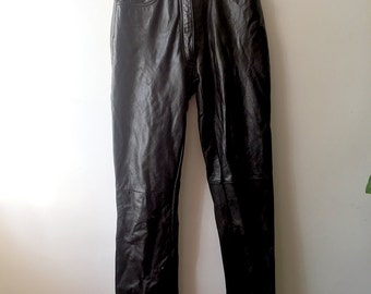 90s Leather Goth Punk Grunge Pants - Size 4 - Straight Leg - High Waisted