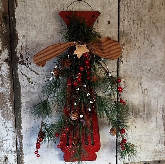 Primitive Christmas Wall Decor : Primitive country christmas wall door decor back by