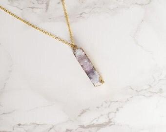 Druzy Layering Necklace - Lavender