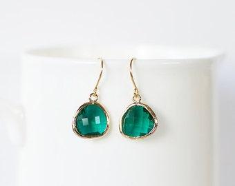 Samantha Earrings - Gold/Emerald