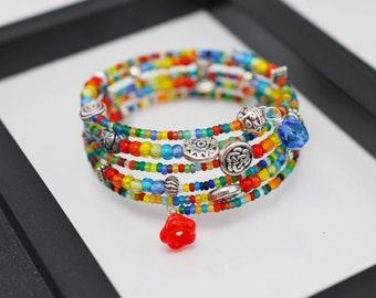 Rainbow Beaded Wrap Bracelet, Memory Wire Bracelet, Beaded Bracelet, Rainbow Bracelet, Seed Bead Bracelet, Hippie Rainbow Bracelet