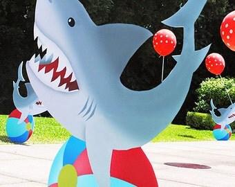 Shark Standees 4 Pc Set - Shark Cardboard Cutouts - Shark Party - Gwynn Wasson Designs PRE-MADE