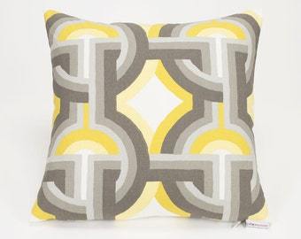 Gray and Yellow Futura Dandelion Pillow Cover DwellStudio Robert Allen