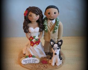 Wedding Cake Topper, Custom Cake Topper, Beach Theme, Bride and Groom, Dog, Beach Wedding, Personalized, Polymer Clay, Hawaiian Lei