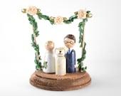 Spring Cake Topper - spring wedding cake topper with dog - dog cake topper - custom peg bride and groom cake topper - floral cake topper