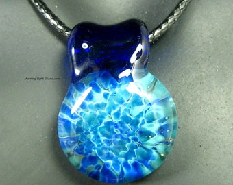 Lampwork Pendant - Blue Glass Necklace - Boro Implosion - Artisan Crafted - Ocean Water Blue