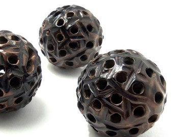 "Ebony Wood ""Seed Pod"" Focal Bead, 40mm - 50mm, Carved Wooden Beads, Round, Natural Wood Beads, Large, Big, 1 pc - ID 2154"