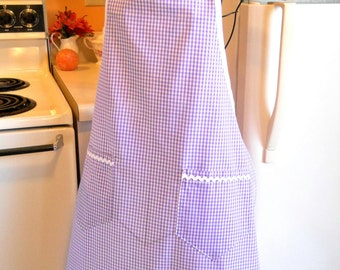 Grandma Style Lavender Gingham Apron MADE TO ORDER
