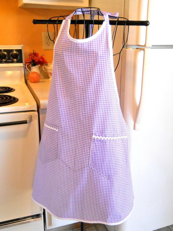 grandma style lavender gingham apron made to order. Black Bedroom Furniture Sets. Home Design Ideas