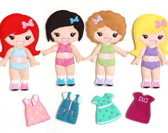 Unique felt paper doll related items etsy for Felt dress up doll template