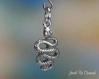 Sterling Silver Snake Charm Rattlesnake Rattler Western 3D Solid .925