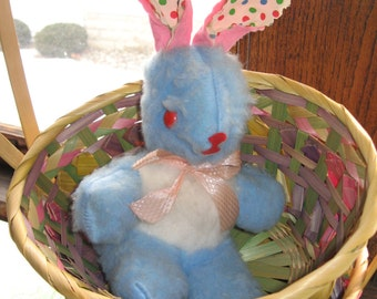 Charming Stuffed Bunny Rabbit for Easter - Vintage 1960s - Crazy Colors - Blue Fur, Red Eyes, Pink Bow, Polka Dot Ears