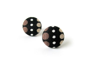 Brown stud earrings - tiny fabric earrings - black button earrings - gift for her