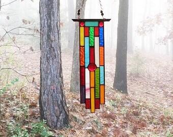 Sunscape New stained glass panel glass art suncatcher gift art glass decorative arts glass art