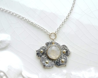 Lover's Stone Poppy Necklace with 14k and 18k Gold - Sterling Silver with Rolo Chain, Gold Clasp, Moonstone, Wedding Gift, Valentine's Day
